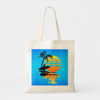 Surfing Sunrise Tote Bag