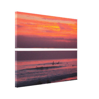 Surfing Sunsets - Stacked Canvas Stretched Canvas Print