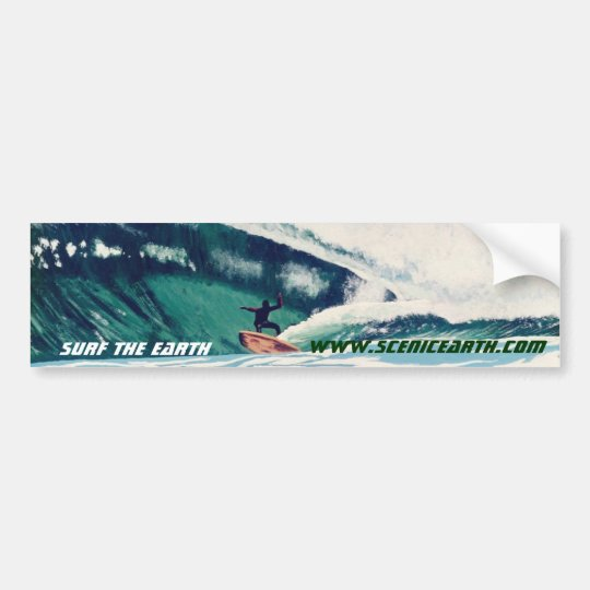 Surfing Surf The Earth Surfer Bumper Sticker Art