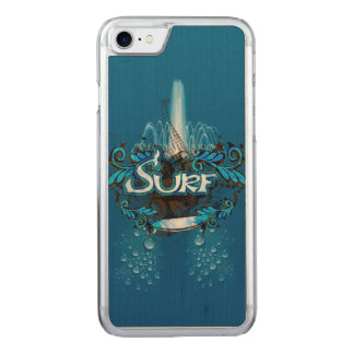 Surfing, surfboard with decorative floral elements carved iPhone 8/7 case