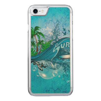 Surfing, surfboard with palm carved iPhone 8/7 case
