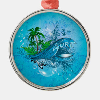 Surfing, surfboard with palm christmas ornament