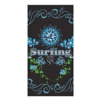 Surfing, surfboarder on black background photo card