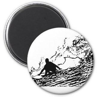 Surfing Surfer Design Retro Style 6 Cm Round Magnet