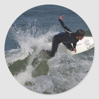 Surfing Surfers Waves Ocean Round Sticker
