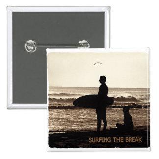 surfing the break 15 cm square badge