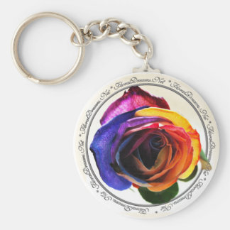 Surfing the Rainbow Rose Keychain