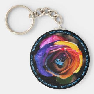 Surfing the Rainbow Rose Keychain