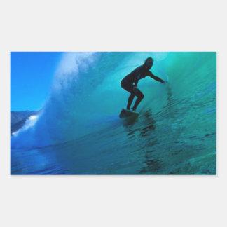Surfing the tube, green ocean wave rectangular sticker