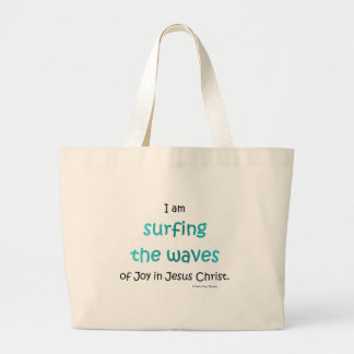 surfing the waves large tote bag