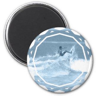 Surfing Tricks Round Button Refrigerator Magnet