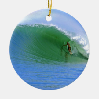 Surfing tropical island wave christmas ornament