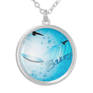 Surfing, Tropical, surfboard with wave Personalized Necklace