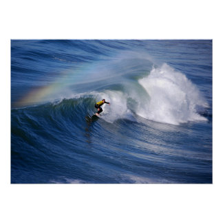 Surfing Under A Rainbow Print