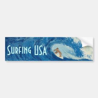 Surfing USA Bumper sticker surf art surfer sticker