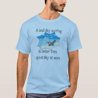 Surfing vs. Work with funny cartoon T-Shirt