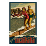 Surfing Waikiki - Honolulu, Hawaii Travel Poster