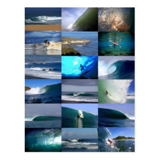 Surfing waves montage postcard