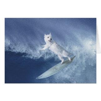 Surfing Westie! Card