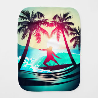 Surfing with palm trees burp cloth