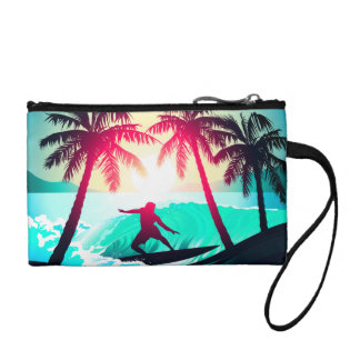 Surfing with palm trees coin purse