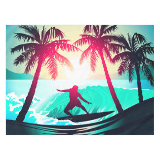 Surfing with palm trees tablecloth