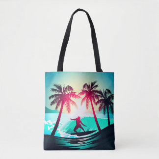 Surfing with palm trees tote bag