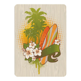 Surfing Woodgrain Design 13 Cm X 18 Cm Invitation Card