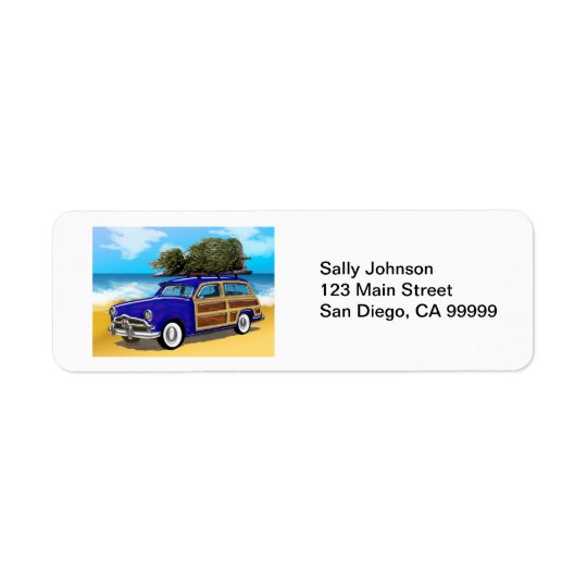 Surfing Woodie with Christmas Tree Return Address Label