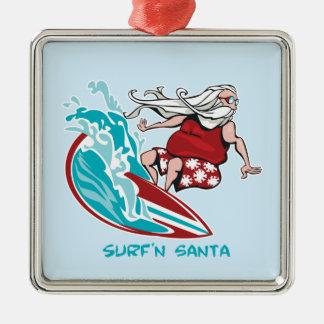 Surf'n Santa Square Metal Christmas Ornament