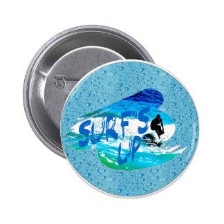 Surf's up 6 cm round badge