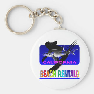 Surf's Up Basic Round Button Key Ring