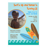 Surf's Up Birthday Photo Invitation 5 x 7 - Blue
