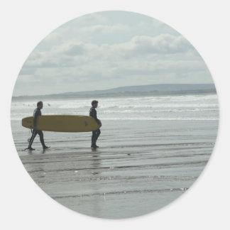 Surf's Up, Enniscrone, Co. Sligo Round Sticker