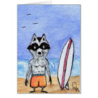 Surf's Up! Racoon with Surf Board Note Card