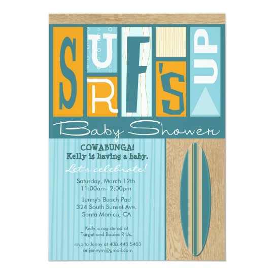 Surf's Up Retro Baby Shower Invitation