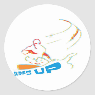 surfs up round stickers
