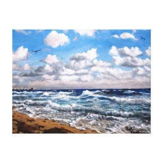 """SURF'S UP""  SEA OIL PAINTING ON WRAPPED CANVAS CANVAS PRINTS"