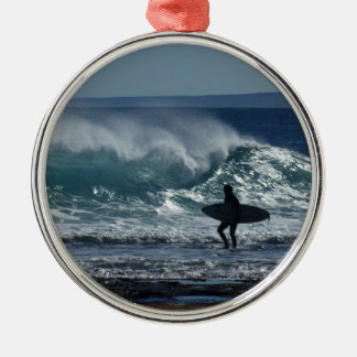 Surfs Up Silver-Colored Round Decoration