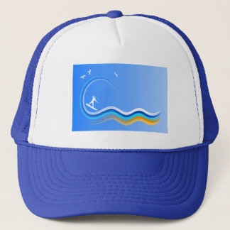 Surf's Up Surfer Surfing Silhouette Blue Hat