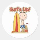 Surf's Up Surfing Gift Classic Round Sticker