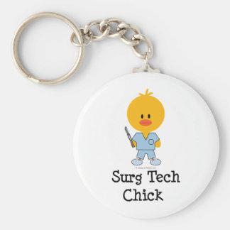 Surg Tech Chick Keychain  Basic Round Button Key Ring