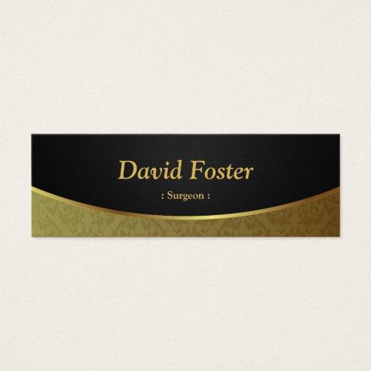 Surgeon - Black Gold Damask Mini Business Card