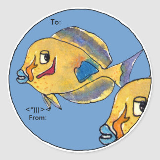Surgeon Fish Tang Cartoon Fish Personalized Labels Round Sticker