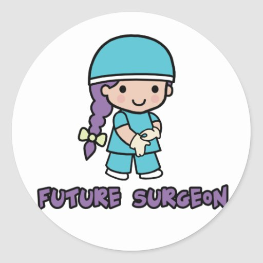 Surgeon (girl) round sticker