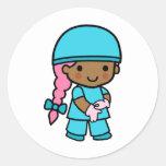 Surgeon Girl Round Sticker