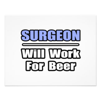 Surgeon Will Work For Beer Personalized Invitation