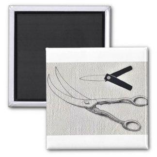 Surgery scissors and lancet Ukiyo-e. Square Magnet