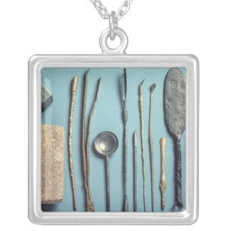 Surgical instruments silver plated necklace