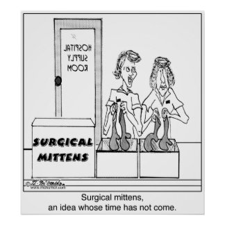 Surgical Mittens Hospital Cartoon Poster